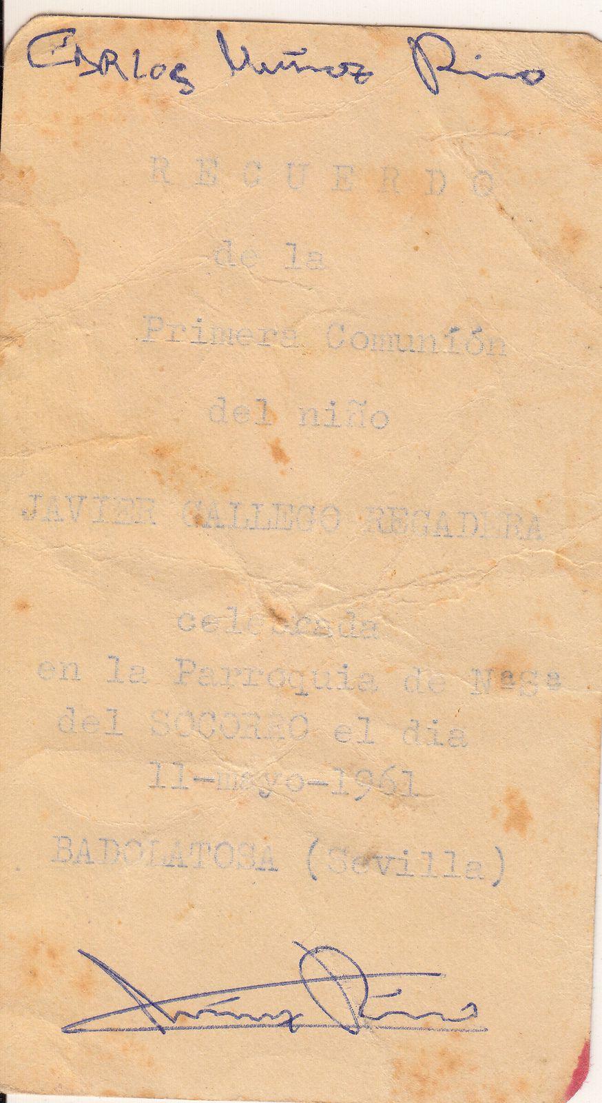 Recuerdos de primera Comunión año 1961