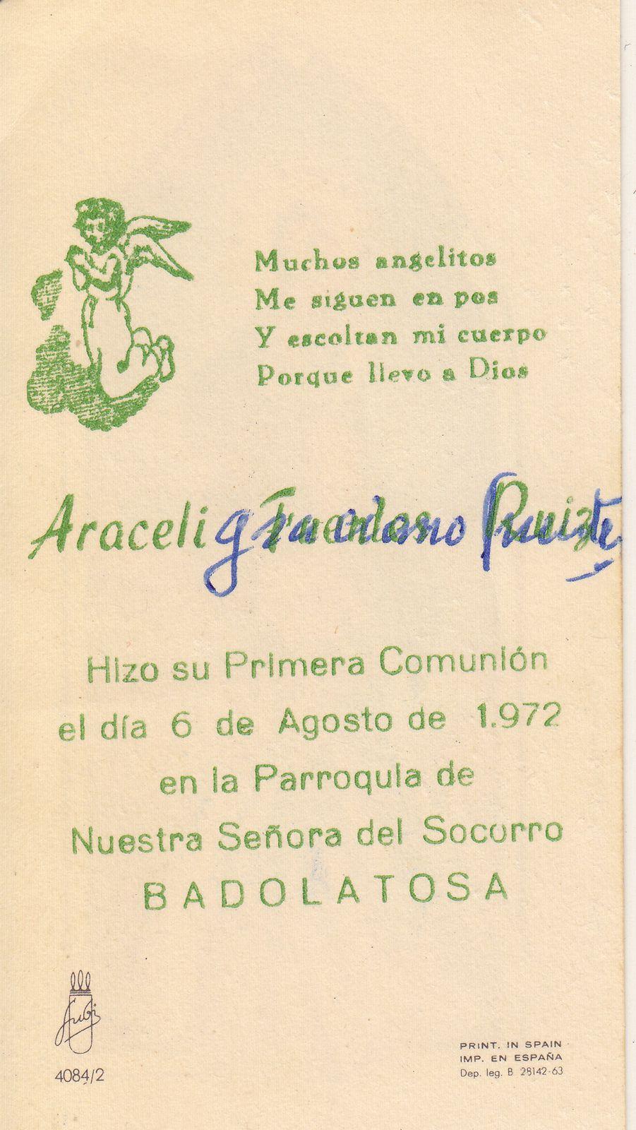 Recuerdos de primera Comunión año 1972