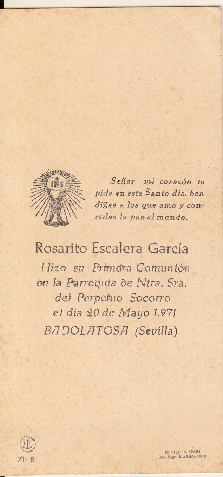 Recuerdos de primera Comunión año 1971