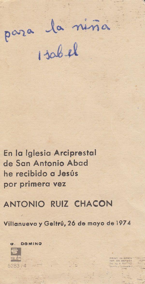 Recuerdos de primera Comunión año 1974