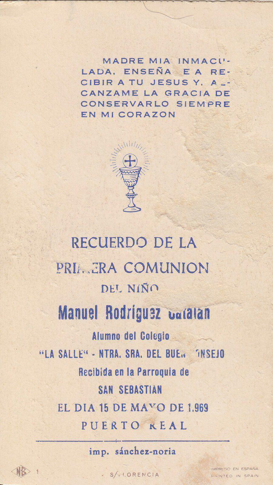 Recuerdos de primera Comunión año 1969