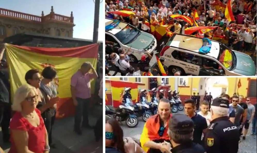 Exaltación marcial en despedida a la Guardia Civil, y caricatura de dirigentes nacionalistas catalanes corruptos