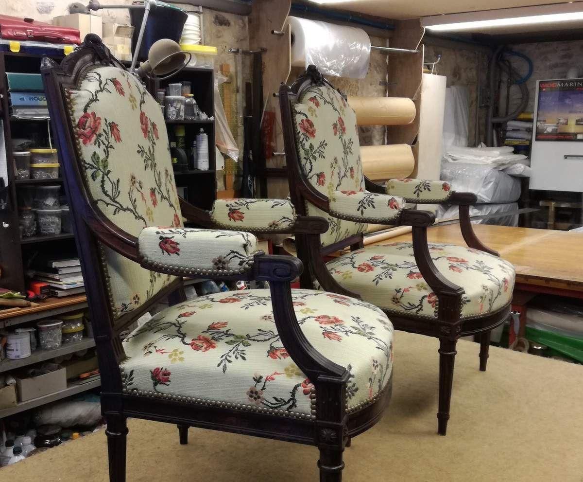 Réfection fauteuils Louis XVI en palissandre