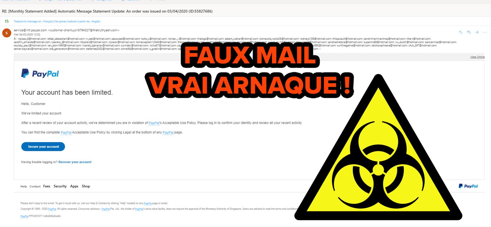 Faux mail, mais vraie arnaque Paypal