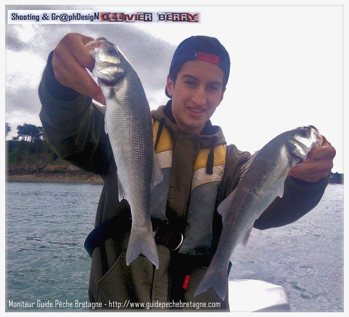 Album photo pêche en mer Bretagne mois de Juillet pêche du Bar aux leurres, pêche du Pagre, au fond. Ollivier BERRY MONITEUR GUIDE PECHE BRETAGNE