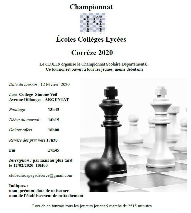 Championnat scolaire écoles collèges et lycées de Corrèze le 12 février à Argentat
