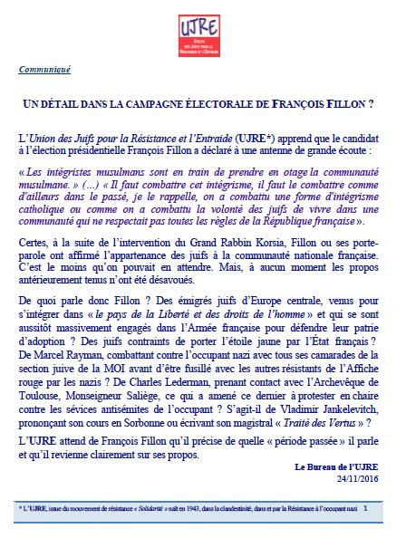 UN DÉTAIL DANS LA CAMPAGNE ÉLECTORALE DE FRANÇOIS FILLON ?
