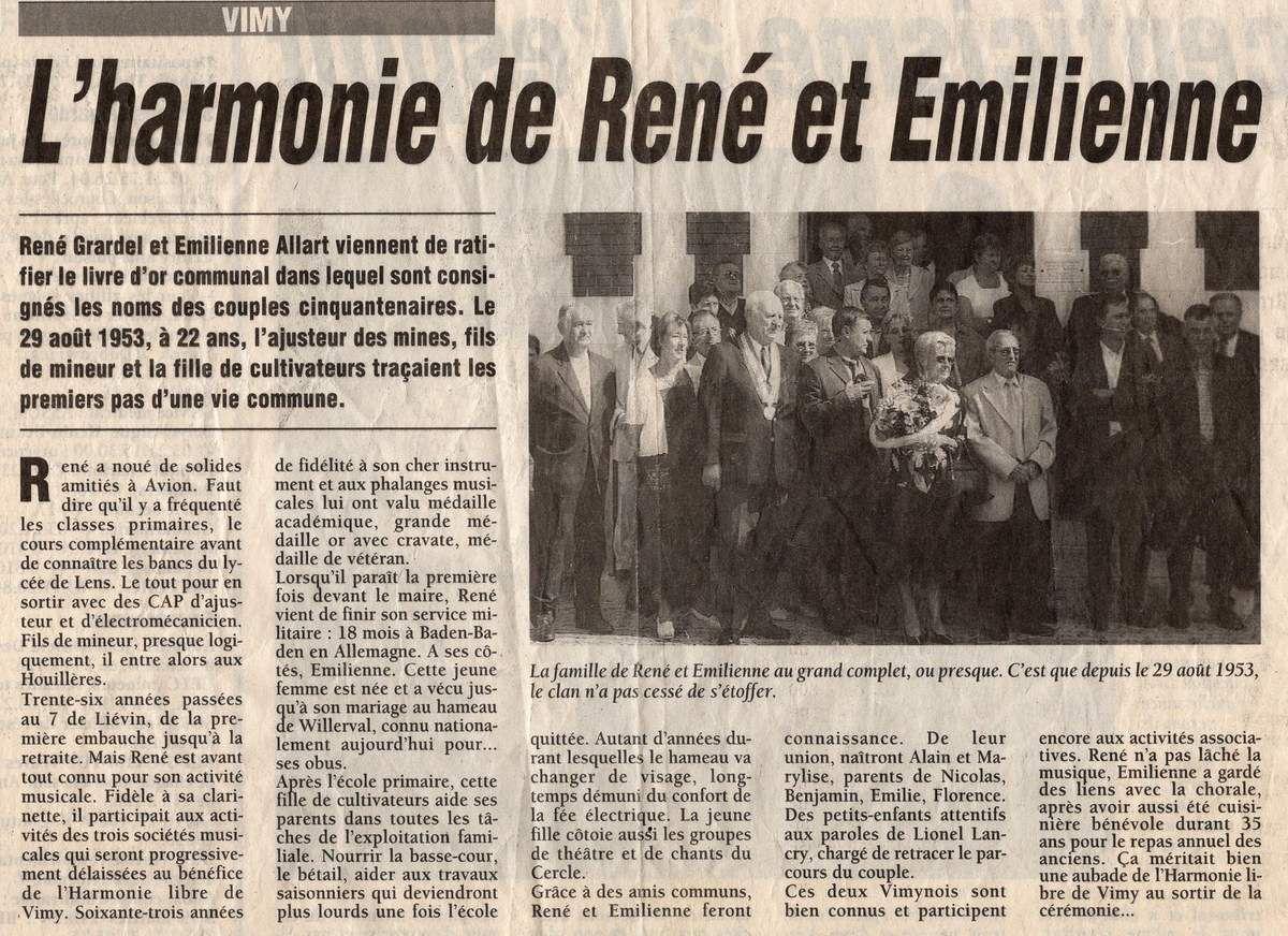 2003 . NOCES D'OR . RENE ET EMILIENNE GRARDEL ...