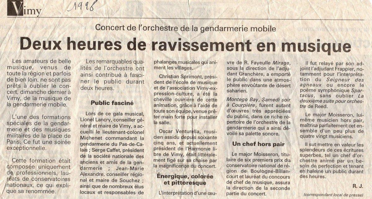 1998 . LA MUSIQUE DE LA GENDARMERIE MOBILE A VIMY . INVITEE PAR L ECOLE DE MUSIQUE ...