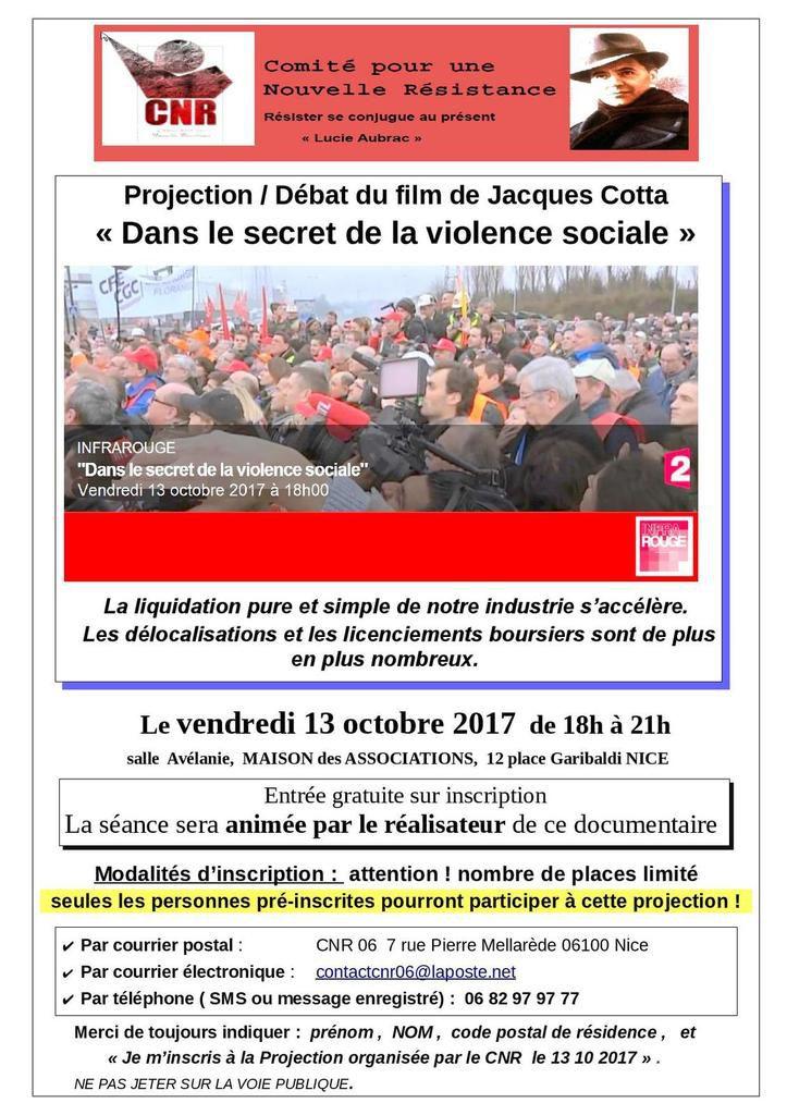 Projection de -et débat sur- «La violence sociale» ; animé à NICE ce vendredi 13 10 2017  par Jacques Cotta