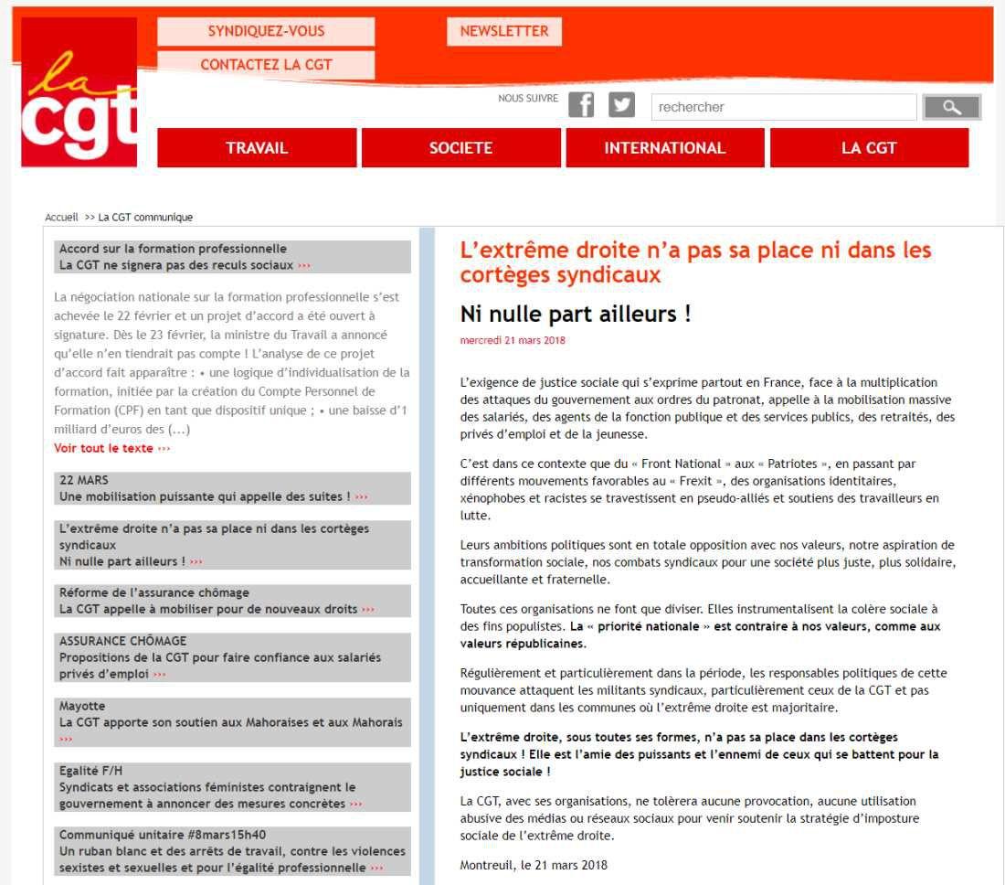 CGT: de l'union à ladivision! Par Arnaud Portanelli. Le 23 mars 2018