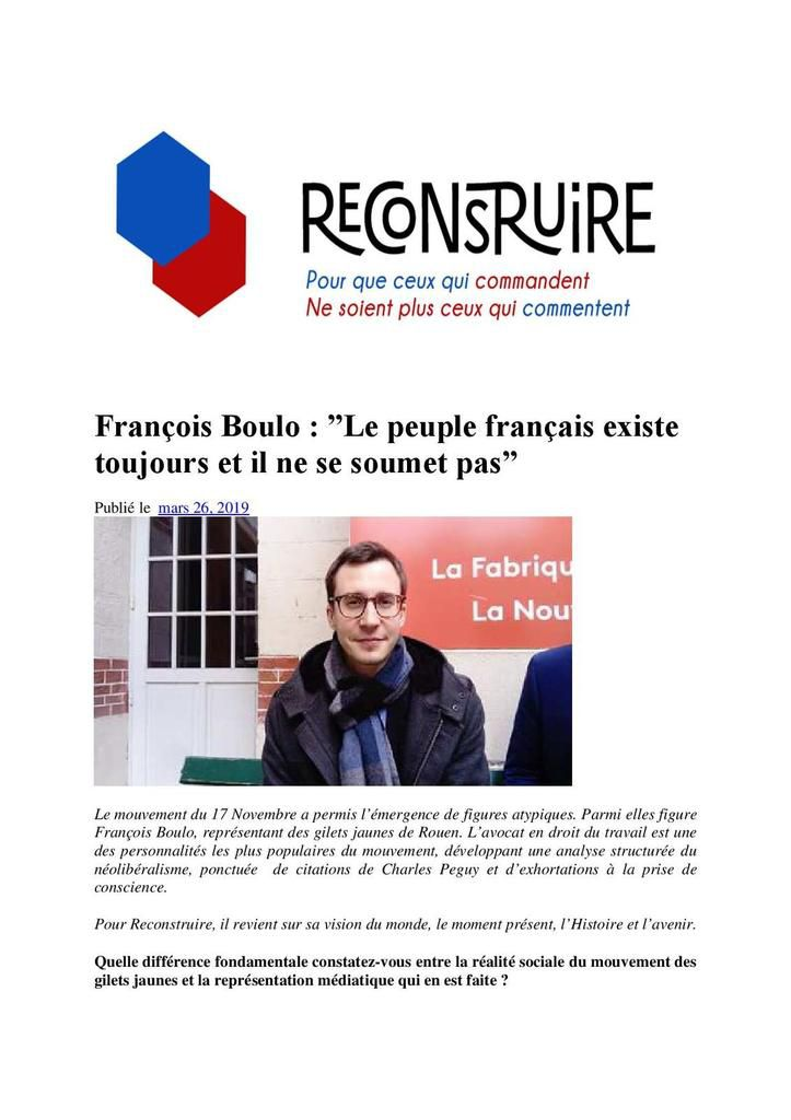 """François Boulo. """"Le peuple français existe toujours et il ne soumet pas""""."""