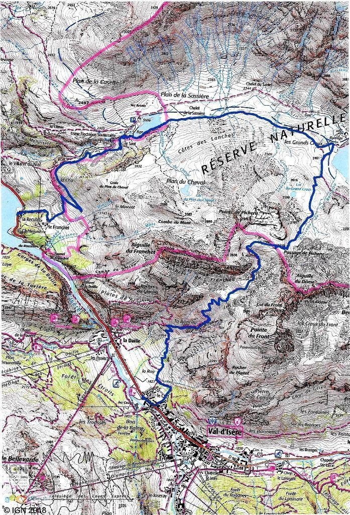 Tracé GPS de notre parcours en bleu Départ : Val d'isère Le Crêt 1830 m- Passage du Picheru 2760 m La Reculaz 1815 m Distance : 16 km