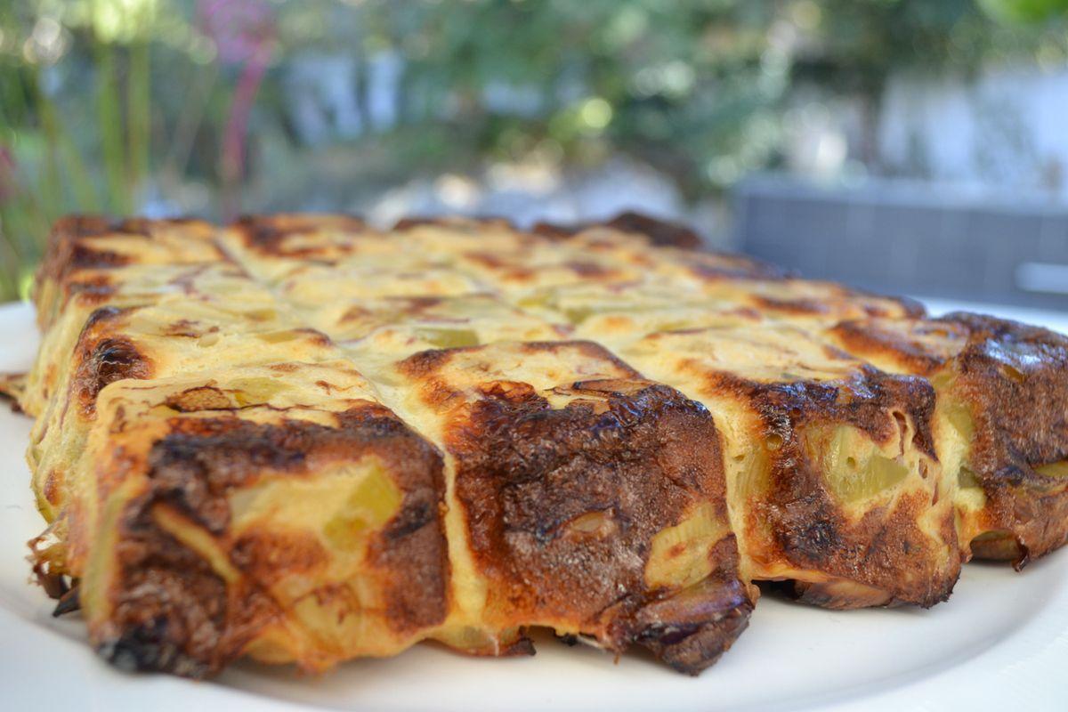 Fondant de  poireaux, pomme de terre, bacon et cancoillotte