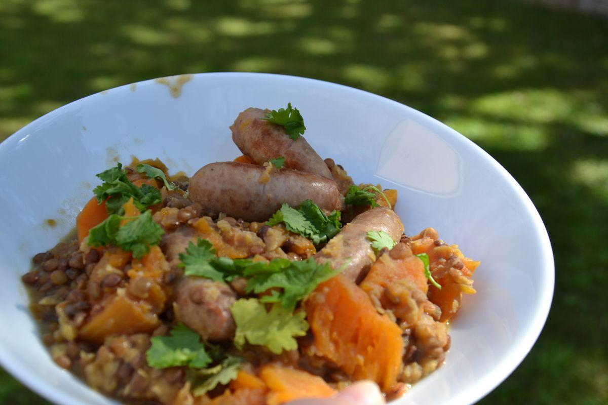 Cari de saucisses , lentilles, carottes,  potiron au cookeo  3 💚💙💜