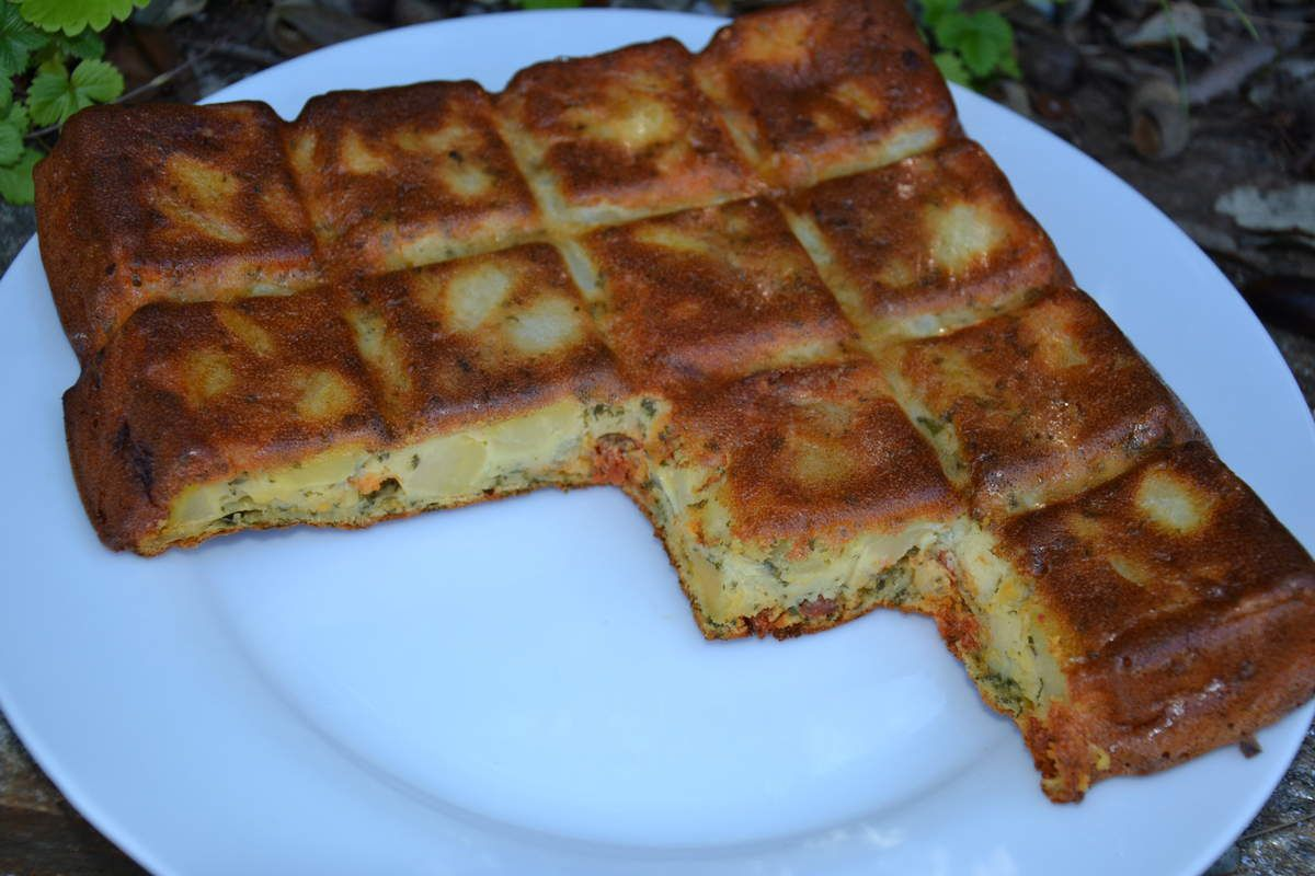 Cake aux pommes de terre et au chorizo 5💚4 💙3💜