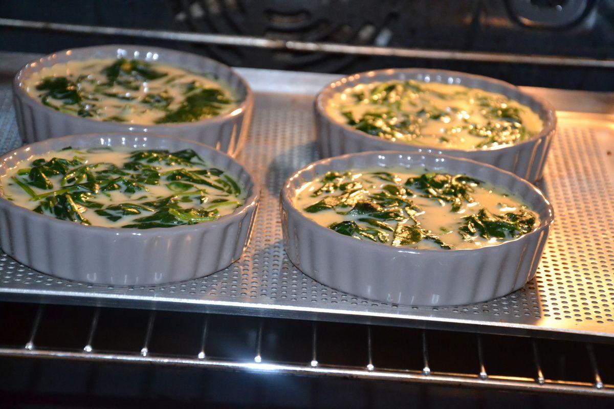 Petites quiches aux épinards (sans pâte)