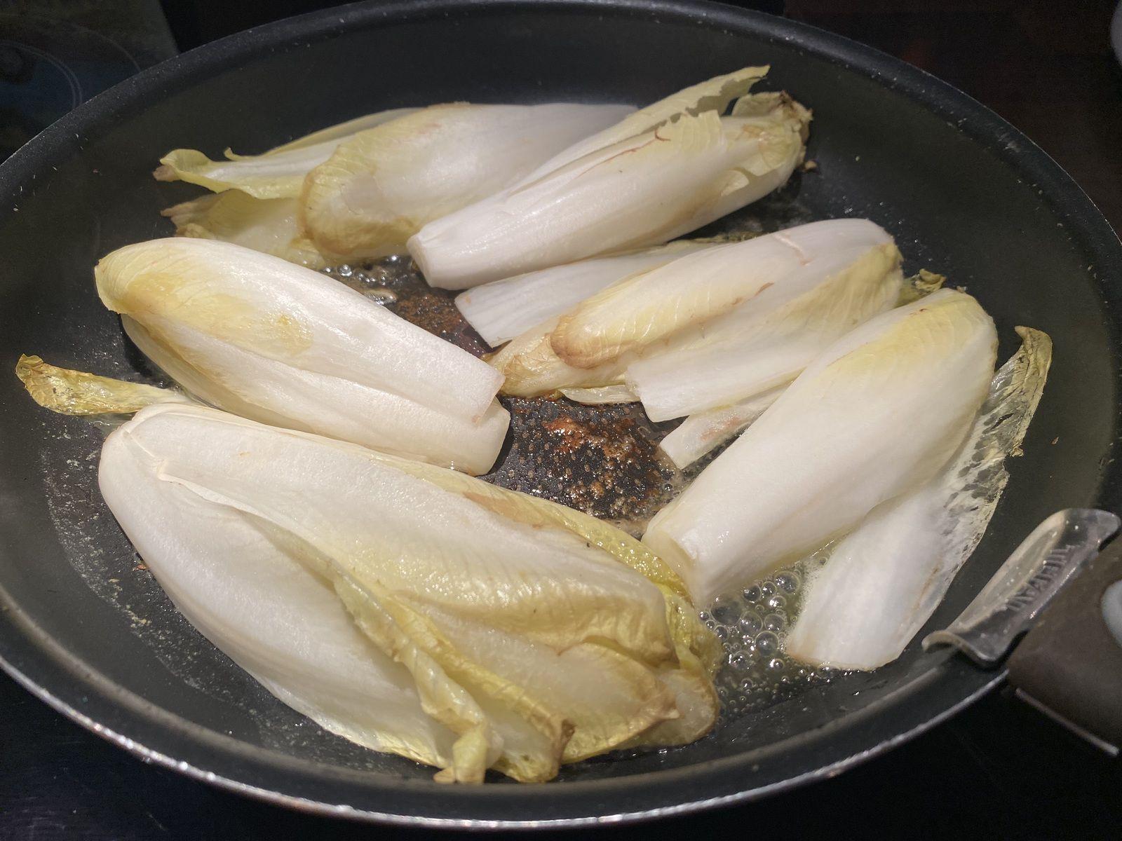 Endives caramélisées au jambon cru 4 💚 💙💜
