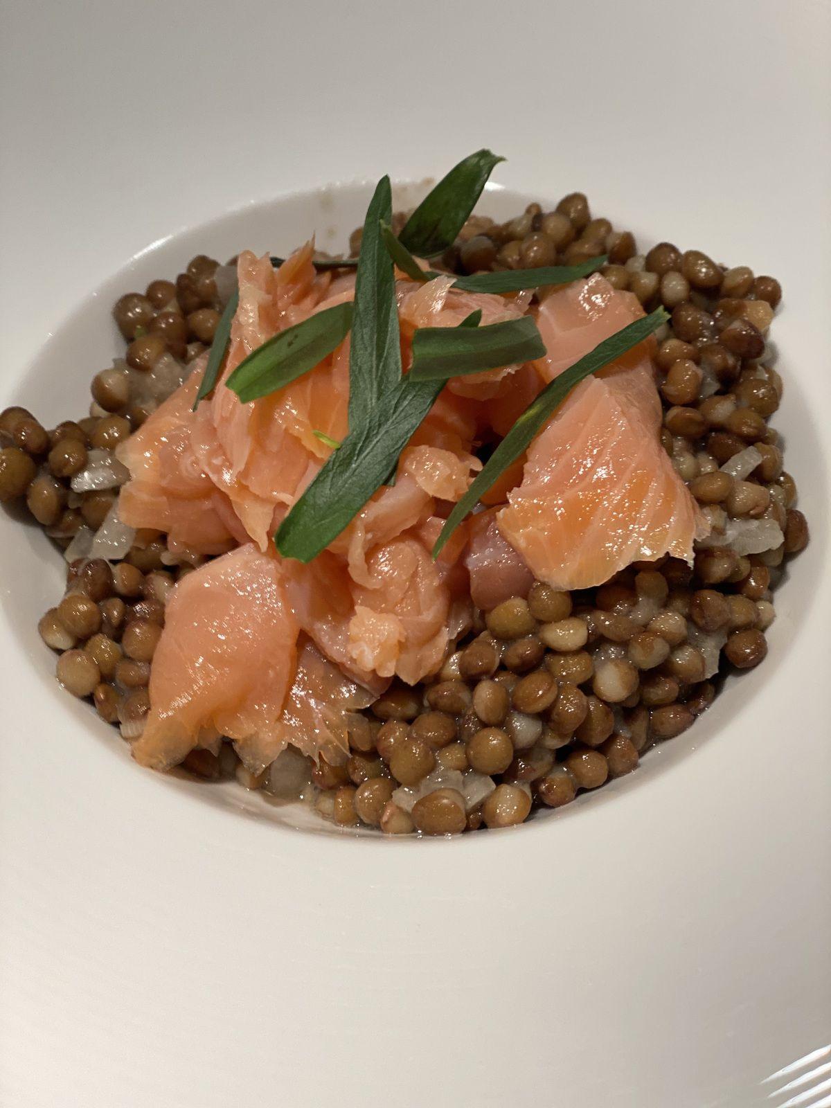 Salade de lentilles & saumon fumé       5💚 1💙 💜