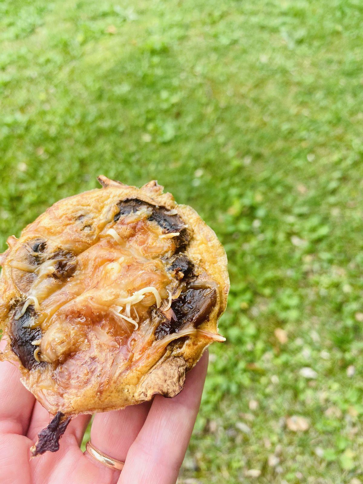 Mini-quiches sans pâteChampignons, jambon et ciboulette  2💚 1💙💜
