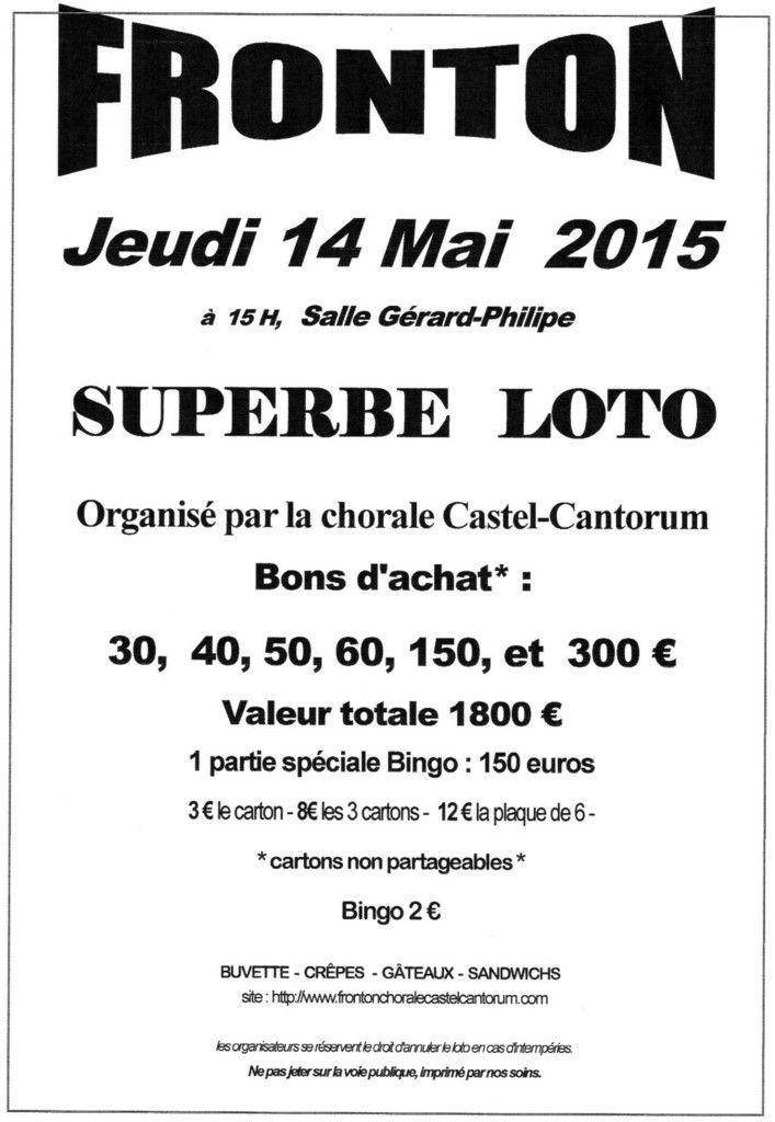 FRONTON : LOTO DE LA CHORALE CASTEL CANTORUM