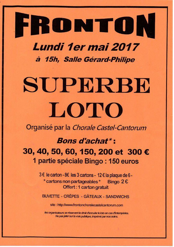 FRONTON - LOTO DE LA CHORALE  CASTEL CANTORUM 1er MAI 2017