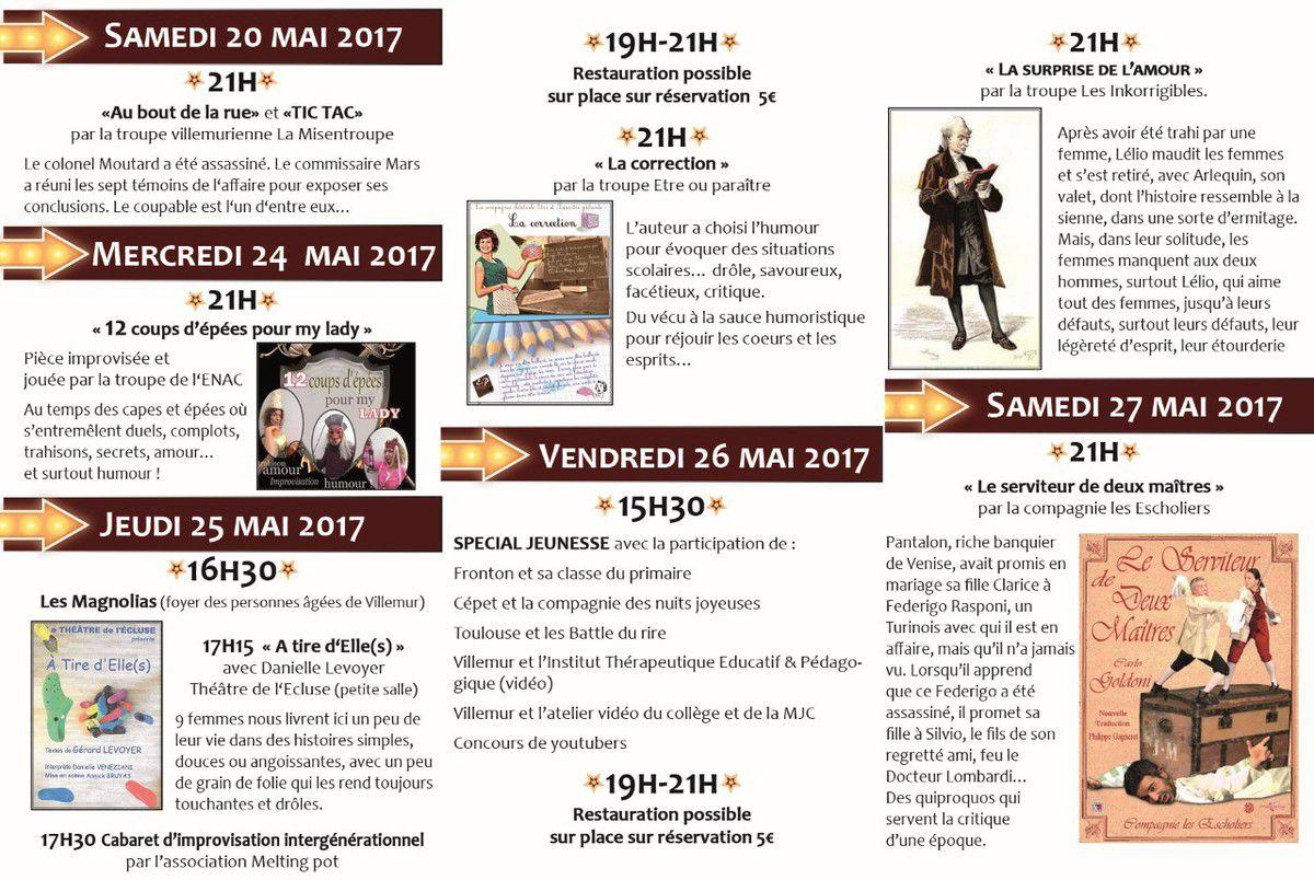 FESTIVAL DU RIRE - VILL'HUMOUR SUR TARN les 20 - 24 - 25 - 26 et 27 MAI 2017
