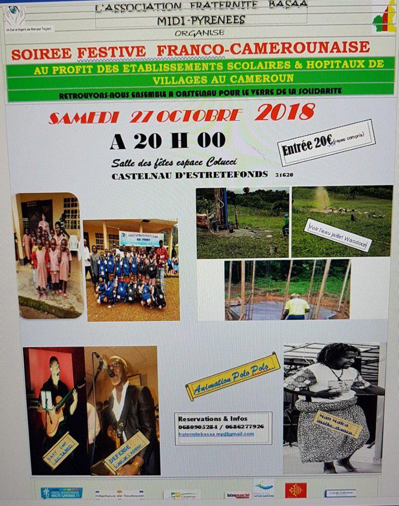 CASTELNAU D'ESTRETEFONDS - SOIRÉE FESTIVE FRANCO-CAMEROUNAISE CE SAMEDI 27 OCTOBRE 2018