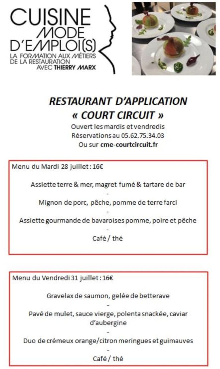 TOULOUSE - RESTAURANT D'APPLICATION CUISINE MODE D'EMPLOI (S) - LE COURT-CIRCUIT