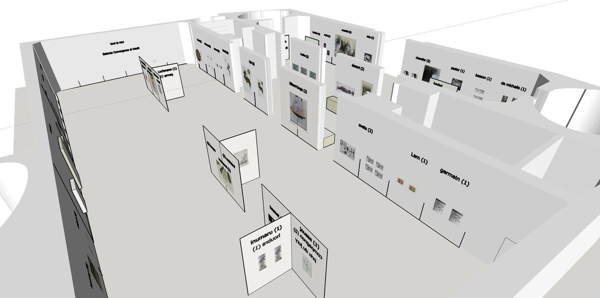 Extractions de la maquette de l'exposition réalisée en 3d et qui m'a permis de travailler l'espace et les accords entre artistes