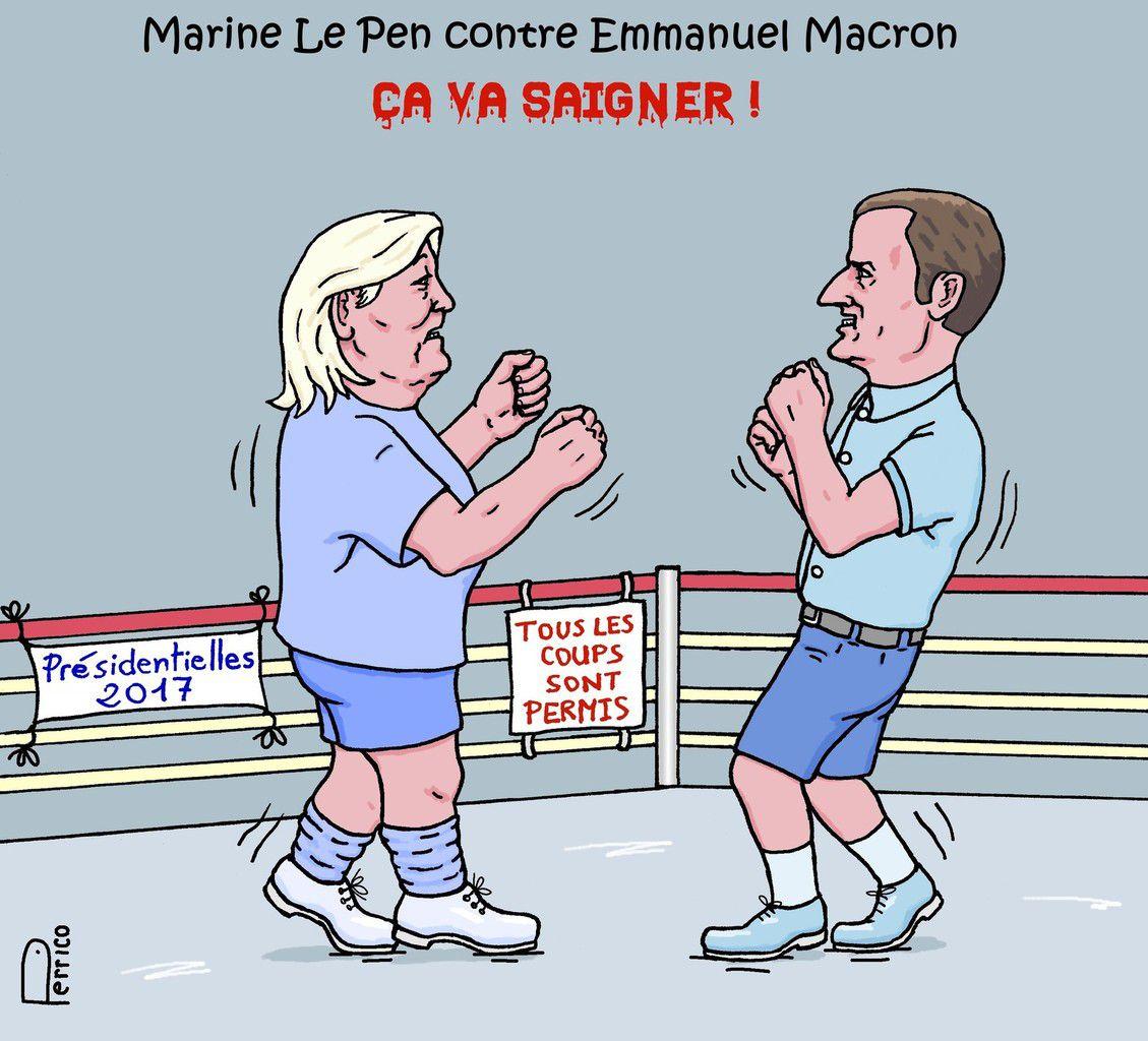Résultats de recherche d'images pour «caricature élections présidentielles 2017 le pen macron»