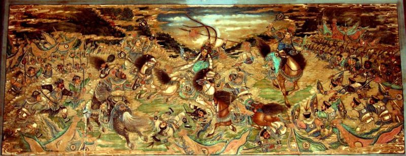 Battle of Zhuxianzhen near Kaifeng in Henan where Yue Fei defeated the Jin army in 1140. Painting on the Long Corridor of the Summer Palace in Beijing.