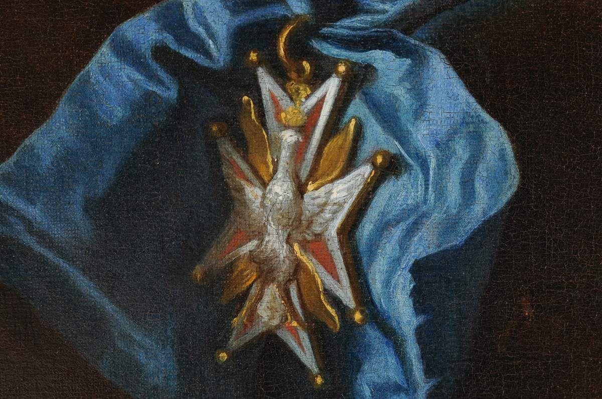 Hyacinthe Rigaud, portrait du comte de Hoym, 1716 (détail de la croix de l'ordre de l'aigle blanc). Suisse, commerce d'art © d.r.