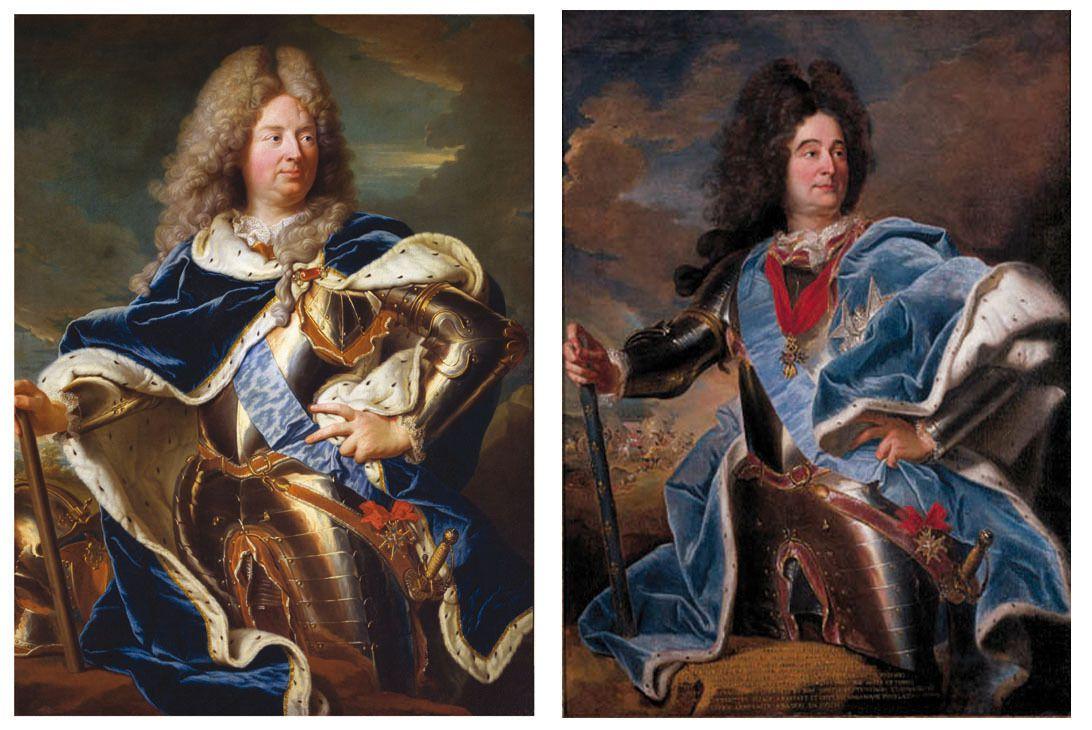 Hyacinthe RIgaud et atelier, portraits du duc d'Antin (à gauche, Versailles, musée national du château, v. 1710) et du duc de Villars (à droite, coll. priv., v. 1704) © Stéphan Perreau & Christie's images Ltd