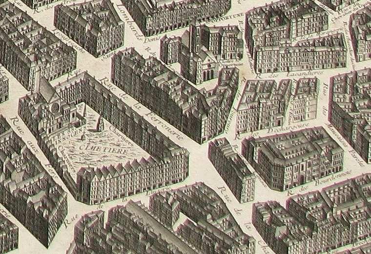 Paris, rue des déchargeurs. Extrait du plan de Turgot © d.r.