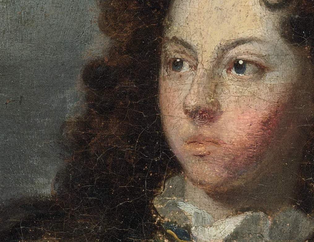 Hyacinthe Rigaud et Nicolas Joseph Le Roy, portrait de Louis de Rouvroy, duc de Saint Simon, 1695 (détail avant restauration). Paris, coll. priv. © Sotheby's NY