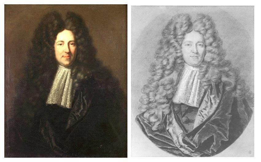 A gauche : Hyacinthe Rigaud, Portrait de Monsieur Bignon de Blanzy, 1699. coll. priv. © Christie's LTD / A droite, dessin par Charles Viénot, 1700. NYMM © documentation des peintures du Louvre