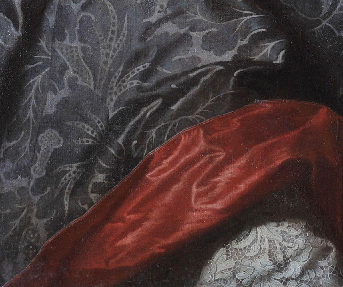 École française du XVIIIes, d'après Hyacinthe Rigaud, portrait d'Emmanuel-Timoléon de Cossé-Brissac, évêque de Condom, v. 1736 (détail) Grenoble, musée Dauphinois © photo musée Dauphinois