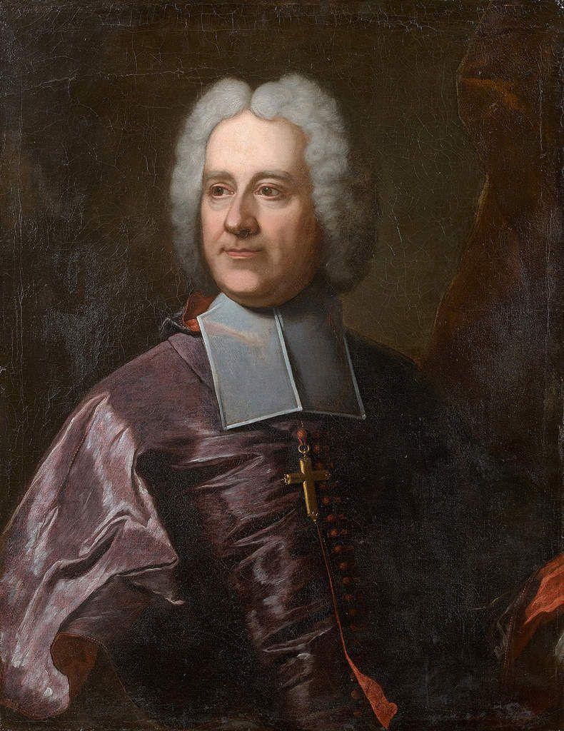 Ecole française du XVIIIe siècle, d'après Hyacinthe Rigaud, portrait d'évêque, v. 1710-1720. coll. priv. © Tajan