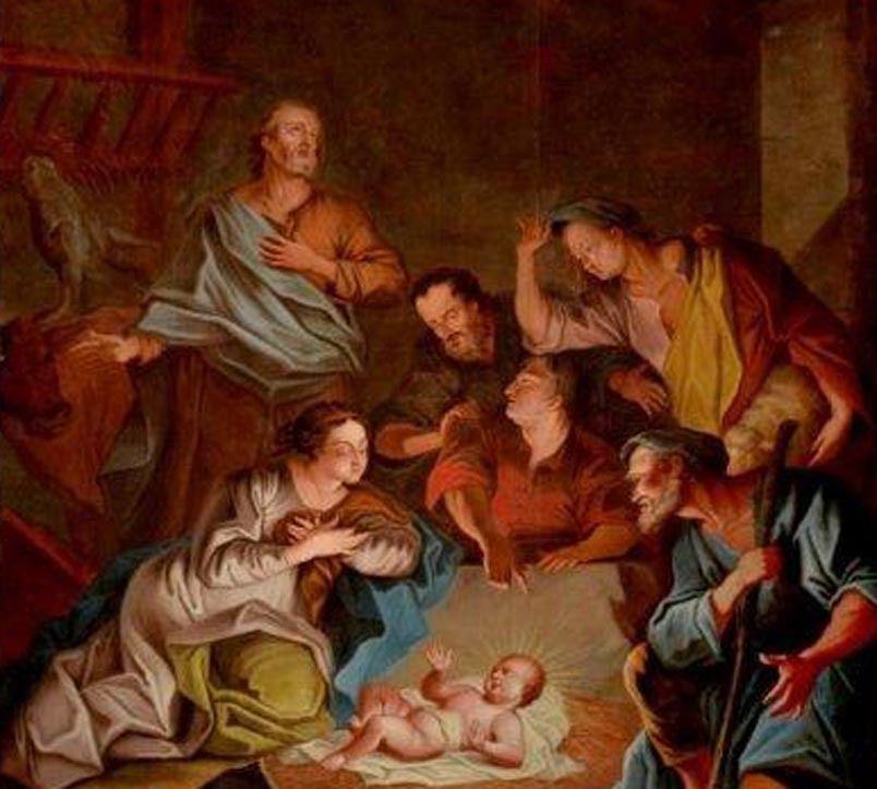 Anonyme français du XVIIIe siècle d'après Hyacinthe Rigaud, La Nativité (détail). Rodez, cathédrale © Photo. Jean-François Peiré - DRAC Occitanie