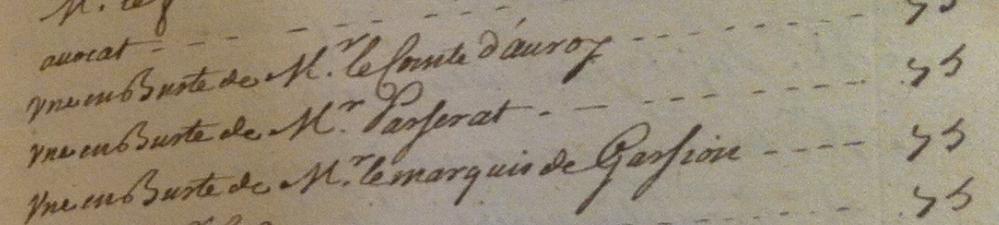 Extrait des livres de comptes d'Hyacinthe Rigaud pour l'année 1709, ms. 624, f°30. Paris, bibliothèque de l'Institut de France © Stéphan Perreau
