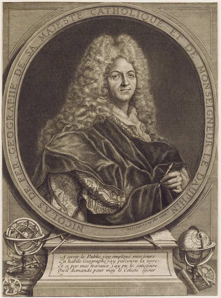 Pierre Dupin d'après Hyacinthe Rigaud, portrait de Nicolas de Fer, géographe. Leipzig, Deutshe Nationalbibliothek © DNbL