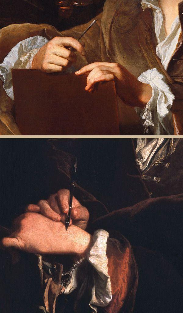 En haut : Hyacinthe Rigaud, portrait de Pierre Drevet, 1700-1701. Lyon, musée des Beaux-arts © photo Stéphan Perreau / En bas : Hyacinthe Rigaud, autoportrait au porte-mine, 1711. Versailles, musée national du château © photo Stéphan Perreau