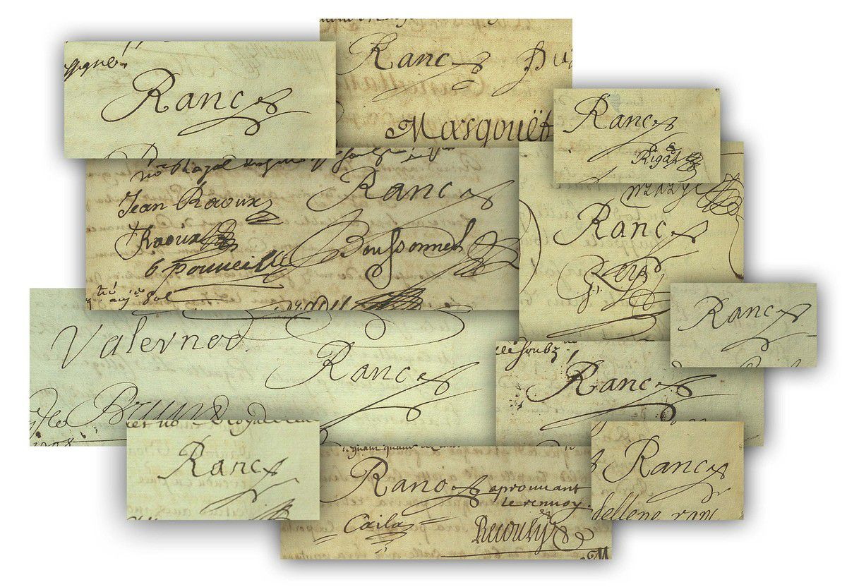 Signatures d'Antoine Ranc dans les archives de l'Hérault © photos Stéphan Perreau