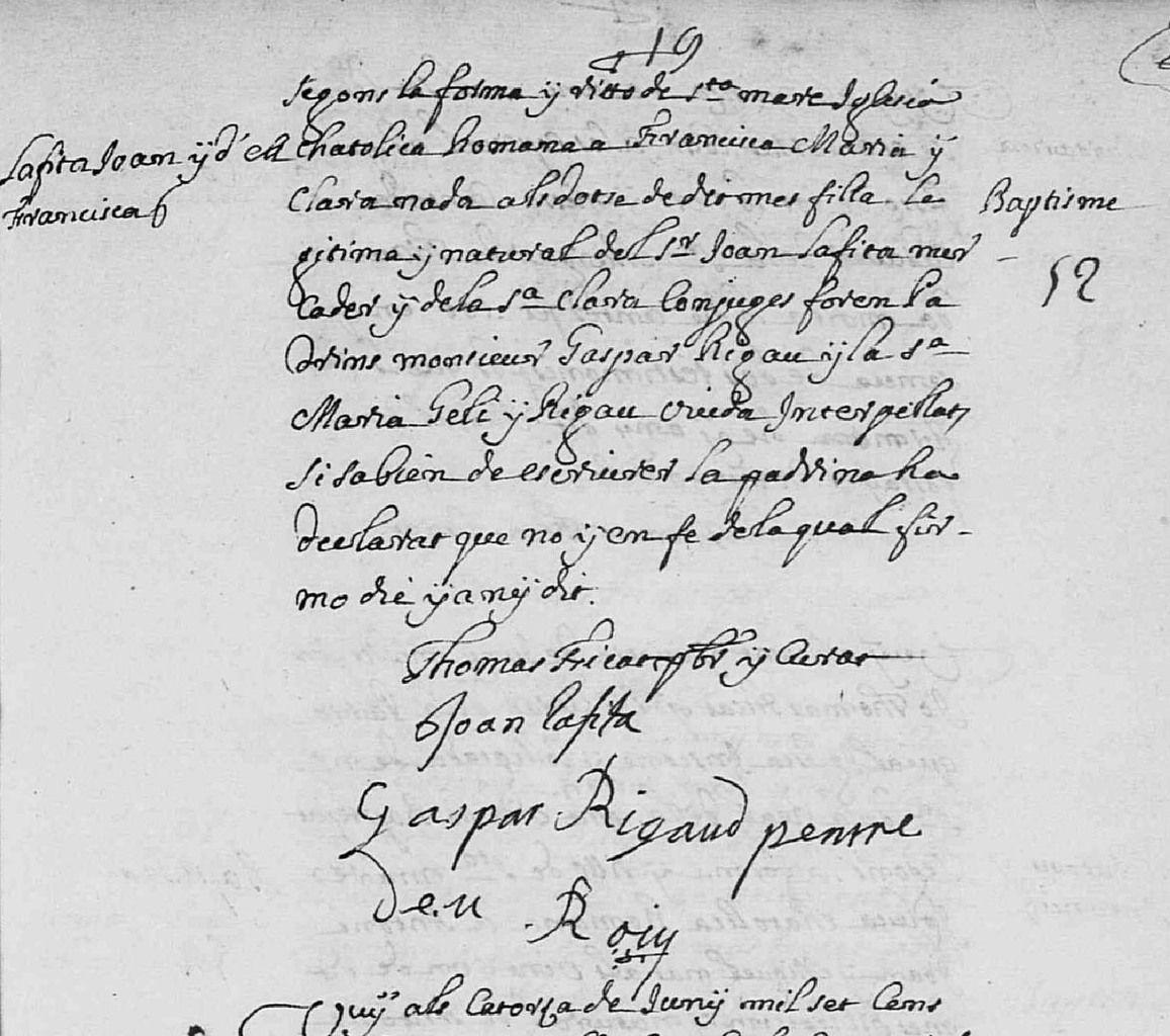 Acte de baptême de Franscisa Maria Clara Lafita, 13 juin 1700. Perpignan, Registres de l'église Notre-Dame-de-La-Réal © ADPO
