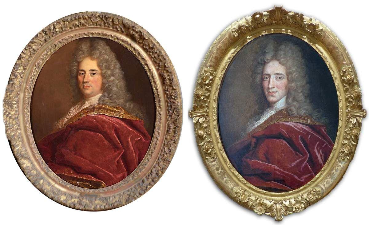 Gaspard Rgaud, portraits d'hommes, v. 1699-1700. Séville, coll. part. (à gauche, © Isbillya Subastas) ; Perpignan, musée Rigaud (à droite © d.r.)