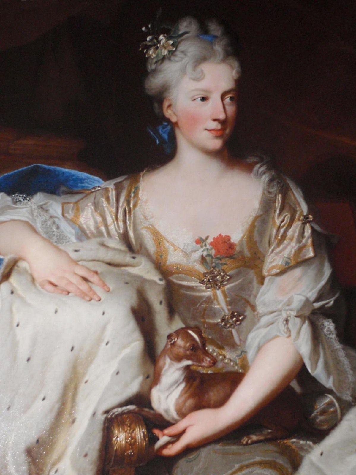 Hyacinthe Rigaud, portrait de la duchesse de Mantoue, v. 1705-1709 (détail). Newport, Marble House © Preservation Society of Newport County