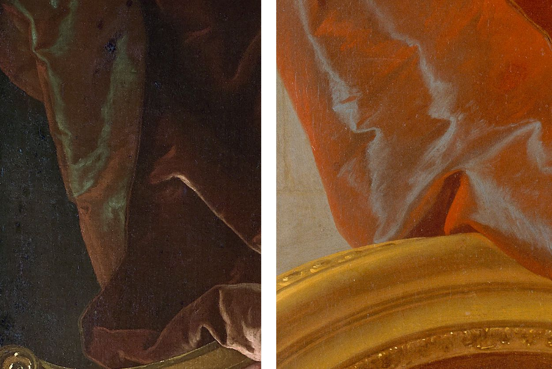 À gauche : Hyacinthe Rigaud, portrait de femme à la robe brune, v. 1719-1721 (détail). Collection particulière © photo cabinet Turquin / À droite : Hyacinthe Rigaud (attr.), portrait dit de Madame de Montginot. Nantes, musée des beaux-arts. Inv. 996.4.1.P © photo Stéphan Perreau