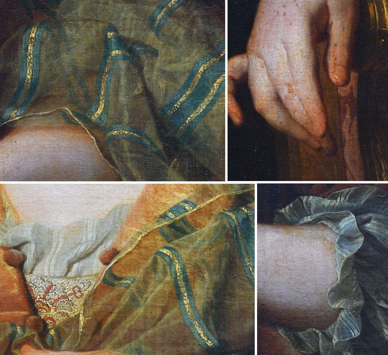 Hyacinthe Rigaud, portrait présumé de Madame de La Jonchère, v. 1719-1721 (détails). Collection particulière © photo Stéphan Perreau