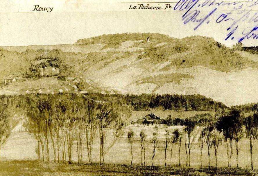 Roucy, avec son château et son moulin, vu du côté allemand.